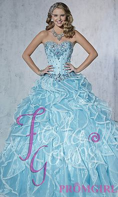 Full Length Strapless Quince Gown by House of Wu at PromGirl.com #promgirl #quinceanera #gown