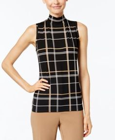 Charter Club Petite Plaid Mock-Neck Shell, Only at Macy's | macys.com