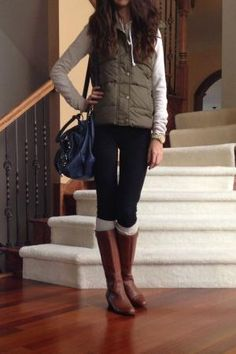 Olive green vest with riding boots fall outfit 2013 by audrey