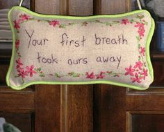 Hand Embroidered Nursery Door Hanger by LaughRabbitJr on Etsy, $16.00