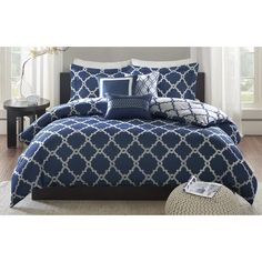Accent your bed with the attractive trellis pattern on the Cole navy Reversible Duvet Cover Set. Reversible Duvet Cover Set Includes: One Duvet Cover, Two Matching Shams, Three Decorative Pillows. Navy Comforter, Comforter Sets, Navy Blue Bedding, Navy Pillows, King Comforter, Queen Duvet, Best Duvet Covers, Duvet Cover Sets, Gray Bedroom