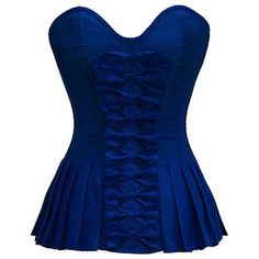 Dark Blue Bow Front Corset with Pleated Sides ❤ liked on Polyvore featuring tops, corset, shirts, blusas, blue, rockabilly tops, blue corset, bow top, blue top and dark blue corset