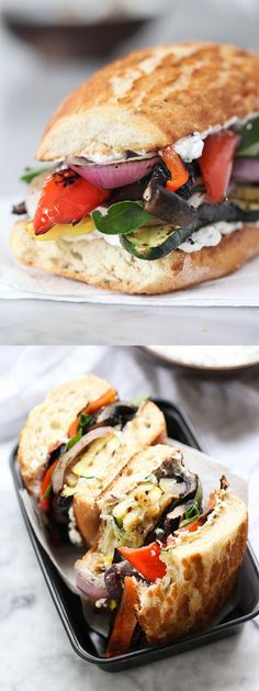 Grilled Vegetable Sandwich with Herbed Ricotta gets tastier and tastier with eve… – Kolay yemek Tarifleri Gourmet Sandwiches, Gourmet Burger, Veggie Recipes, Vegetarian Recipes, Dinner Recipes, Cooking Recipes, Healthy Recipes, Grilling Recipes, Vegetarian Panini