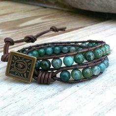 Mossy Mist- brown leather 2-wrap bracelet earthy green gemstone beads
