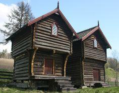 De to stabburene på gården.  (The two storehouses on the farm.) Norway