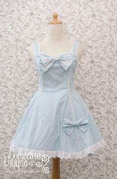 Blue Alicein Wonderland Lolita Dress Dress Polka dot Cotton Big Ribbon
