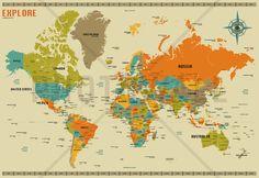 World Map Explore - Wall Mural & Photo Wallpaper - Photowall