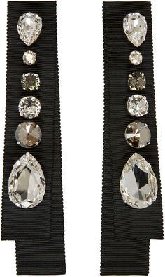 Lanvin - Black Crystal & Grosgrain Earrings