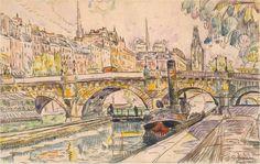 Le peintre Paul Signac (1863-1935) est mort il y a 79 ans. Voici un dessin de 1927 représentant un bateau à vapeur près du Pont-Neuf...