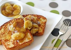 Brioche French Tost with Maple-Banana Sauce. YUM!!