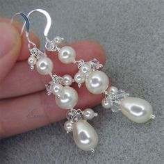 Ivory Pearl Crystal Sterling Silver Bridal Earrings