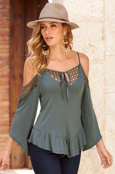 Crochet sleeve cold-shoulder top