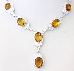 GENUINE YELLOW QUARTZ WOMEN FASHION JEWELRY 925 STERLING SILVER NECKLACE T562 #925silverpalace #Statement