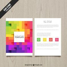 Folleto con coloridos píxeles Vector Gratis