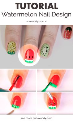 How To Do a Watermelon Nails Design