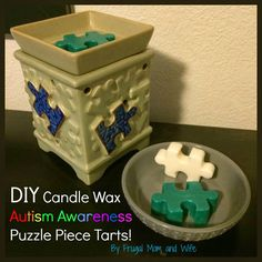 Frugal Mom and Wife: DIY Candle Wax Autism Awareness Puzzle Piece Tarts!