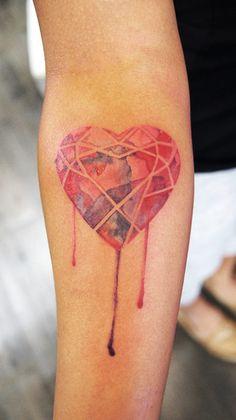 3d gemstone heart tattoo - Google Search
