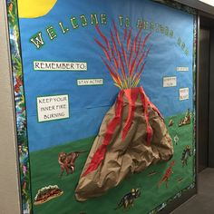 August/September Freshman Move-In Dorm Bulletin Board: Welcome to Another Era Feat. A 3D volcano and dinosaurs