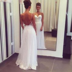 Sexy Backless White Prom Dress Evening Party Dresses Sweetheart Neck With Thin Straps pst0724 on Storenvy