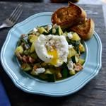 Zucchini Summer Skillet with Poached Eggs   Garlic Butter Baguettes