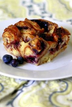 Wildberry croissant bread pudding | broma bakery -Delicious, especially when adding fresh blueberries before baking.