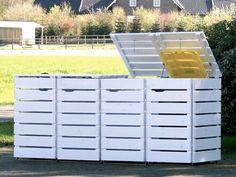 4er Mülltonnenbox aus Holz, Weiß