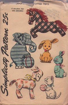 MOMSPatterns Vintage Sewing Patterns - Simplicity 4510 Vintage 50's Sewing Pattern ADORABLE Baby Crib Toys, Stuffed Animal With Embroidery Trim Horse, Elephant, Dog, Rabbit, Kitty Cat & Lamb
