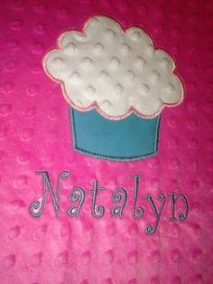 Cupcake Applique Minky Blanket by TweetDreamsBoutique on Etsy, $45.00