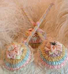 Circa 1920s Extraordinary Never Used Powder Puff and Mirror Wands Adorned With Exquisitely Smocked Silk Pastel Ribbon, Lace, Pink Ribbonwork Rosettes and Silk Flowers Pure Fairy Land