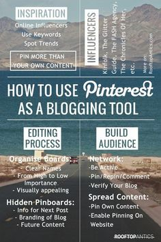 Using Pinterest as a blogging tool for inspiration connecting with influencers the editing process and building an audience.