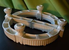 Fluted White Modular Erphila Centerpiece- 4 candleholders, 4 curved blossom vases, 2 straight blossom holders by VintagePropShop on Etsy