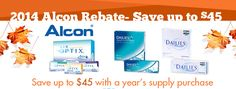 Save up to $45 on a year's worth of contact lenses by Alcon brands, including Air Optix & DAILIES, with a rebate from Replace My Contacts! http://www.replacemycontacts.com/topsellers/232/air-optix-contact-lenses.mvc #onlineshopping #onlinedeals