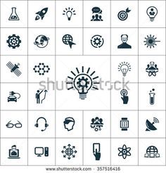 Simple innovation icons set. Universal innovation icons to use for web and mobile UI, set of basic UI innovation elements  icons universal set