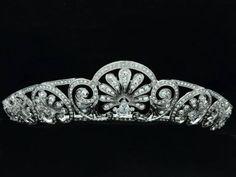 Wedding-Bridal-Pageant-Flower-Tiara-Crown-Headbands-W-Rhinestone-Crystals-21368R Copy of Gloucester Tiara of 1913