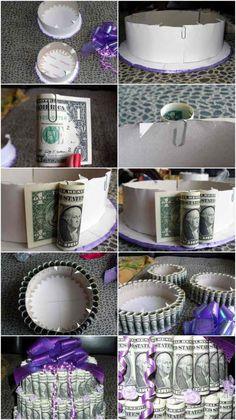 Torte aus Karton und Geldscheinen selber machen