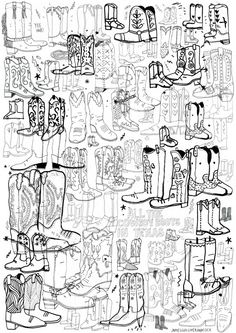 Bellamy-Simms - All The American States by: James Gulliver Hancock (great drawings) Drawing Lessons, Art Lessons, Pattern Art, Print Patterns, Cowboy Art, Cowboy Boots, Ed Design, Color Songs, Watercolor Sketch