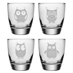 Found it at Wayfair - 13 Oz. Owl Assortment Double Old Fashioned Glass (Set of 4)http://www.wayfair.com/daily-sales/p/Setting-Swap%3A-Tableware-in-Every-Style-13-Oz.-Owl-Assortment-Double-Old-Fashioned-Glass~ZSG2302~E15761.html?refid=SBP.rBAZEVQwHtgUF1p5CKXSAszmrk6VSE0PtJtrEjGsjJM