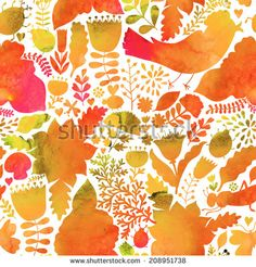 Vector autumn watercolor pattern. Handpainted texture with flowers and birds. Floral pattern.Original floral background - stock vector