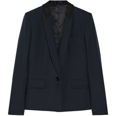 Helmut Lang Faille-trimmed stretch-wool blazer (10 660 ZAR) ❤ liked on Polyvore featuring outerwear, jackets, blazers, navy, single breasted jacket, indian jacket, helmut lang, tailored blazer y collar jacket