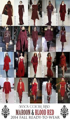 Colour Trend - 2014 Fall RTW Collection Review (Autumn/Winter) - Maroon & Blood Red Fall Winter, Autumn, 2014 Trends, Tadashi, Carven, Season Colors, Carolina Herrera, Color Trends, Ready To Wear