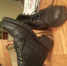 Black boots Used still good condition black army style boots Shoes Ankle Boots & Booties