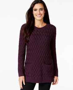 Jeanne Pierre Cable-Knit Pocketed Tunic Sweater