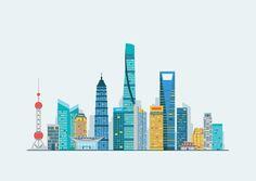 Shanghai skyline by Antikwar on Creative Market