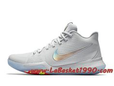 best sneakers 9e9b9 5061c Nike Kyrie 3 Iridescent Swoosh 852416-001 Chaussures Nike Basket Pas Cher  Pour Homme Blanc