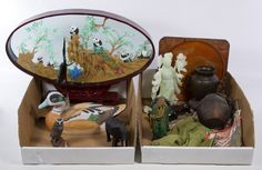 Lot 700: Asian Decorative Object Assortment; Thirteen items including animals and pots