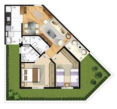 Tipo 2 dormitórios com suite - garden