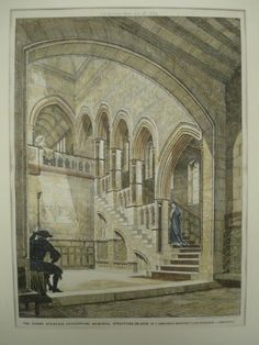 Grand Staircase of the Shakespeare Memorial in Stratford-on-Avon, England 1884. W. F. Unsworth. Original Plan