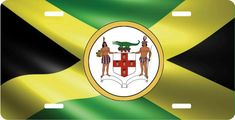 Jamaica Flag Personalized License Plate Tag With Coat Of Arms Aluminum Metal Bahamas Flag, Jamaica Flag, Montenegro Flag, Novelty License Plates, License Plate Frames, Aluminum Metal, Coat Of Arms, American Flag, Black And White
