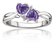 Double Heart Amethyst & Diamond Ring