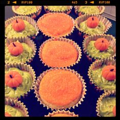 Pumpkin patch cupcakes   Orange chocolate chip cupcakes with green cream cheese frosting and marzipan pumpkins!  YUM! Perfect for Halloween!